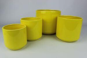 Žltý keramický okrúhly kvetináč 15 cm