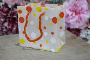Oranžová bodkovaná darčeková taška 11cm