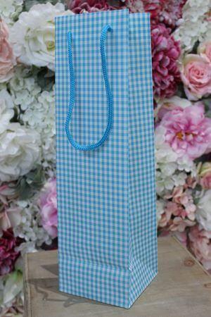 Modrá károvaná darčeková taška 36cm