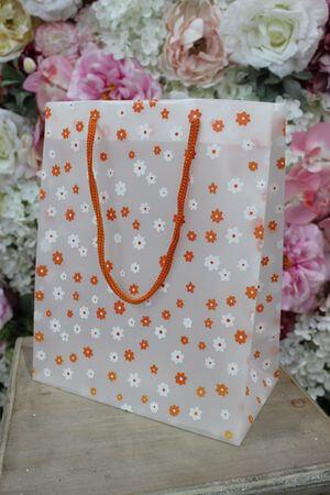 Oranžová kvetinková darčeková taška 25cm