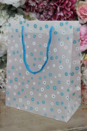 Modrá kvetinková darčeková taška 25cm
