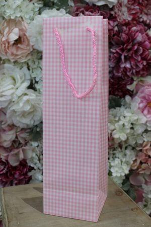 Ružová károvaná darčeková taška 36cm
