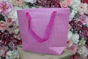Fuchsiová károvaná darčeková taška 31cm
