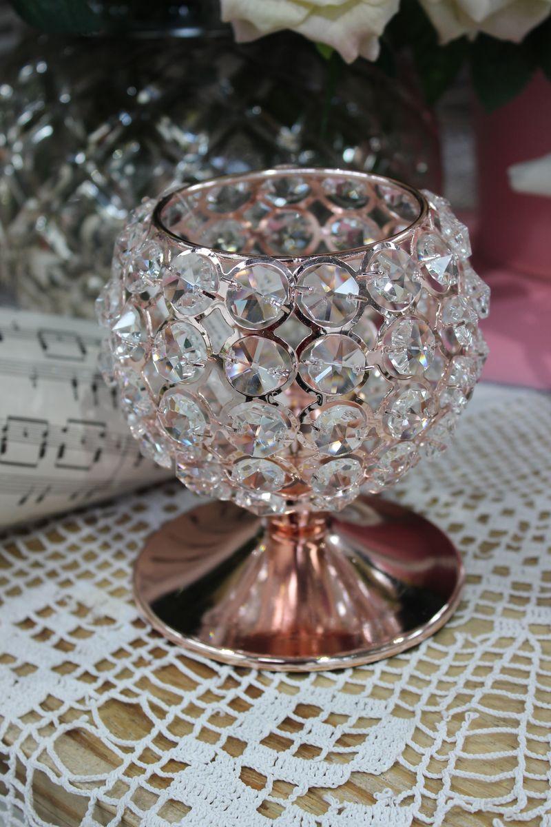 Ružový luxusný svietnik so skleneným zdobením 12cm