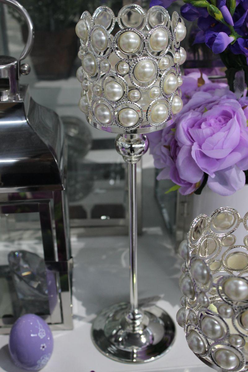 Strieborný luxusný svietnik s perlami 40cm