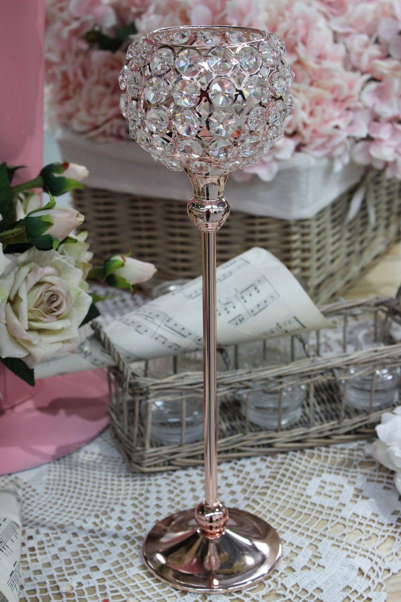 Ružový luxusný svietnik na stopke s kameňmi 37cm