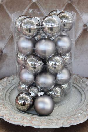 Sivé antracitové vianočné gule 6cm 30ks