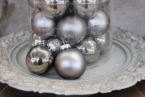Sivé antracitové vianočné gule 8cm 15ks