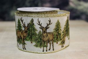 Biela vianočná stuha ozdobená jeleňom 6,5cm x 10m