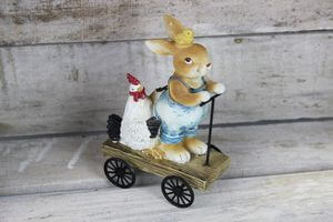 Veľkonočný zajačik na vozíku 15cm