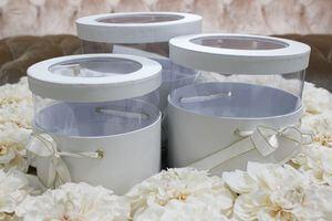 Biele okrúhle flower boxy 3-set