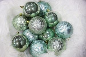 Modré tiffany plastové vianočné gule 8 cm 12ks