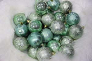 Modré tiffany plastové vianočné gule 6cm 30ks