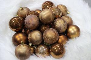 Hnedé plastové vianočné gule 6cm 30ks