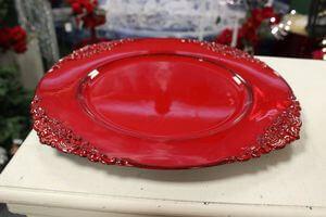 Červený lesklý klubový tanier 35cm