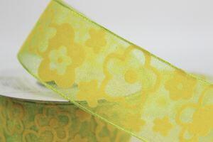 Žltá vzorkovaná priehľadná stuha 4 cm x 10 m