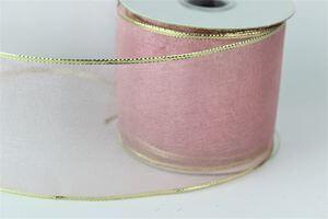 Ružová priehľadná stuha s okrajom 6cm x 10m