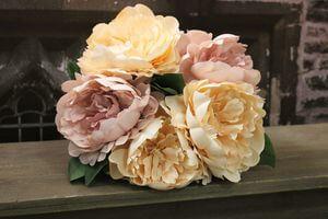 Ružovo marhuľová umelá kytica pivoniek