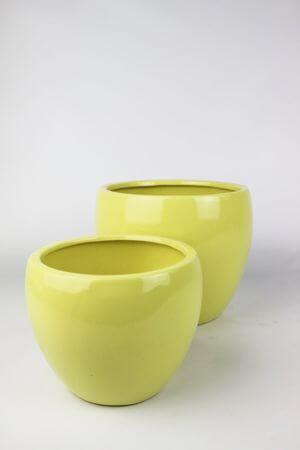 Žltý keramický klasický kvetináč 18 cm