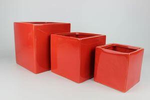 Červený keramický hranatý kvetináč 19 cm