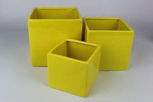 Žltý keramický hranatý kvetináč 10 cm