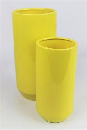 Žltá keramická okrúhla váza 20 cm