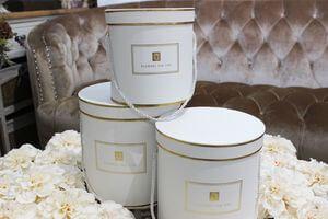 Biele okrúhle kvetinové flower boxy s lankom 3-set