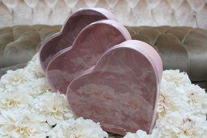 Ružové kvetinové flower boxy v tvare srdca 3-set