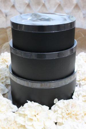 Čierne okrúhle kvetinové flower boxy 3-set