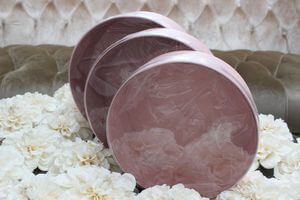 Ružové okrúhle kvetinové flower boxy 3-set