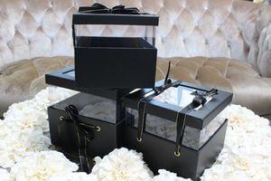 Čierne kvetinové flower boxy v tvare štvorca 3-set