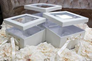 Biele kvetinové flower boxy v tvare štvorca 3-set