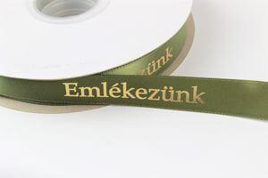 Zelená saténová stuha 2cm s nápisom Emlékezunk