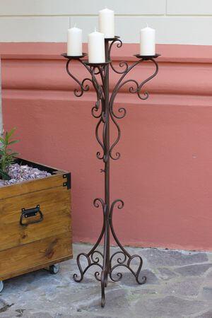 Hnedý kovový trojramenný svietnik Romace 123cm