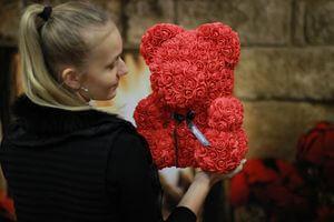 Červený medvedík z ruží 38 cm
