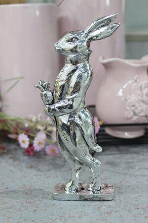Strieborný veľkonočný pán zajac s mrkvou 17cm