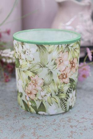 Zeleno ružový kvetinový svietnik 9cm