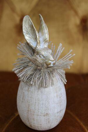 Zlaté patinované vajíčko so zajačikom 14cm