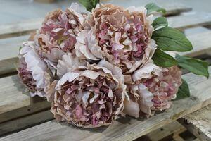 Ružová umelá kytica pivoniek 30cm