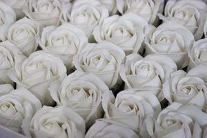 Biele mydlové hlavičky ruží 50ks 6cm