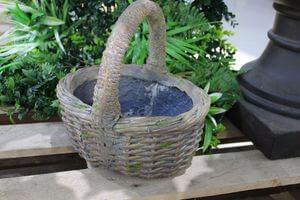 Hnedý keramický kvetináč v dizajne košíka 27cm