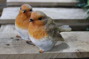Oranžovo hnedé dekoračné vtáčiky párik 8cm