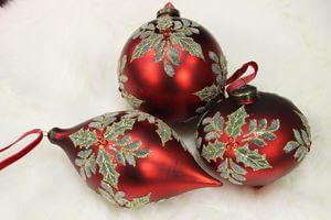 Červené zdobené závesné vianočné ozdoby 3-set 10cm