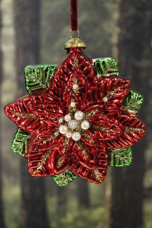 Červená zdobená závesná vianočná ruža 2-set