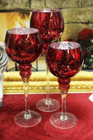 Červené sklenené svietniky na stopke 3-set