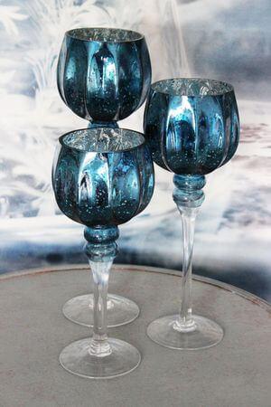 Modré sklenené svietniky na stopke 3-set