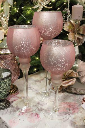 Ružové sklenené svietniky na stopke 3-set