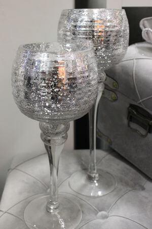 Strieborné sklenené svietniky na stopke trojset