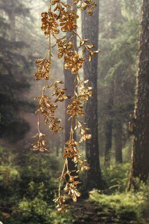 Hnedo zlatý lesklý popínavý konár 87cm