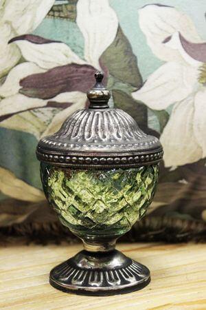 Zelený rustikálny svietnik v skle s kopulou 13cm